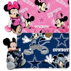 Dallas Cowboys NFL Mickey and Minnie Mouse Throw Combo