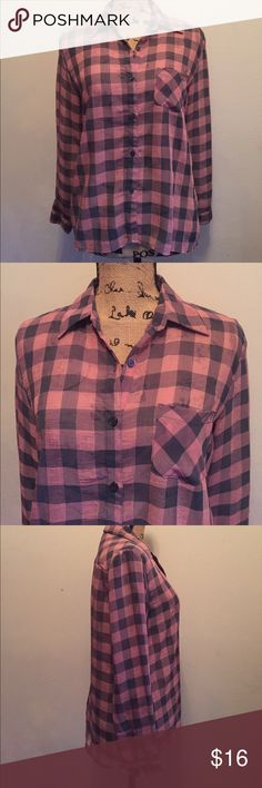 """Faded Glory sheer long sleeve Blouse Faded Glory soft grey and pink plaid sheer long sleeve button down blouse w/ collar and left front pocket.  Sleeves have buttons on cuffs, and back of top has a seam at middle from top of collar all the way down to hem that opens to a few inches long slit at bottom. Length is 26-1/2"""" and bust is 38"""". Material is 100% polyester. Faded Glory Tops Blouses"""
