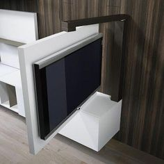 Result image for mobile porta tv orientabile Tv Stands, Tv Wall Design, House Design, Tv Unit Design, Swivel Tv Stand, Hidden Tv, Tv Furniture, Wall Mounted Tv, Swivel Tv Wall Mount