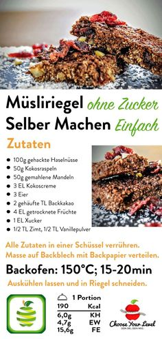Müsli Riegel Selber Machen Muesli bar Do it yourself without sugar. Suitable for one # Food intolerance or # Food intolerance as Healthy Nutrition, Healthy Drinks, Healthy Snacks, Healthy Recipes, What Is Healthy Eating, Clean Eating, Muesli Bars, Low Carb Tortillas, Food Intolerance