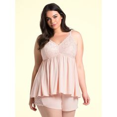 Torrid Sleep Lace Bust Babydoll ($37) ❤ liked on Polyvore featuring intimates, sleepwear, nightgowns, pale blush, lace nightie, baby doll nightie, babydoll nightgown, baby doll nightgown and sexy plus size sleepwear