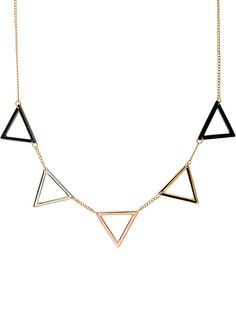 Gold Hollow Triangle Chain Necklace - Sheinside.com