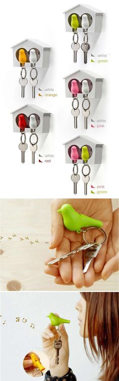 Sparrow Birdhouse Key Holder With Whistle