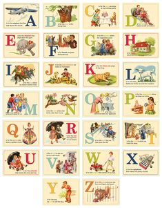 """Report Card Alphabet Cards By October Afternoon ATC-style cards. """"These fun and creative cards pair each letter of the alphabet with a selected word and image. Printed single-sided on extra-heavy cardstock. Part of the Report Card collection. Vintage Labels, Vintage Ephemera, Vintage Cards, Alphabet Cards, Alphabet And Numbers, Typography Alphabet, Vintage Pictures, Vintage Images, Etiquette Vintage"""
