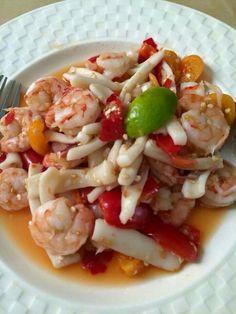 #Laofood #Seafoodsalad #Squid#Shrimp