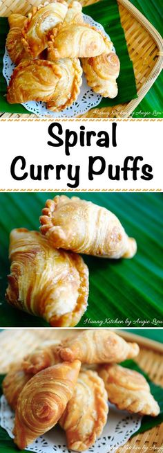 Spiral Curry Puffs, also known as Karipap Pusing (螺旋咖喱角) are a tasty and favorite Asian snack especially in Malaysia and Singapore. They are quite similar to the western puff or pies except that for this curry puff, it is filled with spicy, sweet and savo Asian Appetizers, Asian Snacks, Asian Desserts, Chicken Appetizers, Savory Snacks, Snack Recipes, Cooking Recipes, Yummy Snacks, Bread Recipes