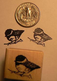 Chickadee+bird+rubber+stamp+miniature+by+dragonflybuzz+on+Etsy,+$4.95