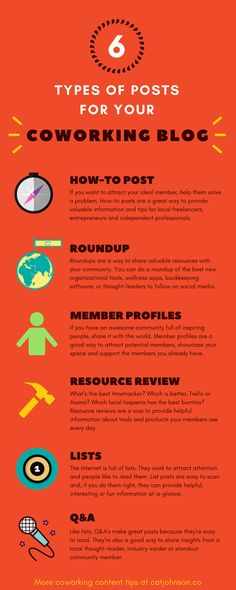 6 Types of Posts for Your Coworking Blog (Infographic)