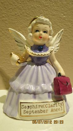 Vintage Lefton Napco September Angel Sapphire Birthstone for Clarity JAPAN SR | eBay