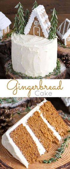 This Gingerbread Cake is perfect for the holidays! A moist and delicious ginger cake with a tangy cream cheese frosting. A perfect pairing! Holiday Cakes, Holiday Desserts, Holiday Baking, Holiday Treats, Holiday Recipes, Christmas Recipes, French Desserts, Holiday Foods, Christmas Sweets