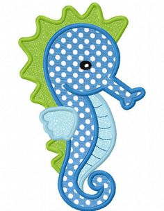 seashellcottage.quenalbertini2: Seahorse Applique Machine Embroidery Design (N°0022) | by Lovely Stitches Design on Etsy