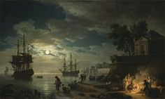 Claude Joseph Vernet the Shipwreck | Claude Joseph Vernet, The Night: A Seaport by Moonlight, unknown date ...