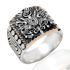 925 Sterling Silver Ottoman Ring for Men with Coat of Arms of Great Ottoman Empire