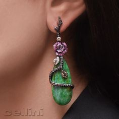 Sunday Funday with @wendyyuejewellery and Cellini Jewelers, Jade drops with pink sapphires and black diamonds