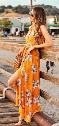 #summer #outfits Orange Printed Maxi Dress