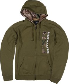 FXR Racing - Snowmobile Gear - Men's Outdoor Zippered Hoodie - Moss