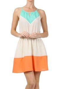 Teal. Blue. Orange. White. Cream. Short. Summer. Dress.