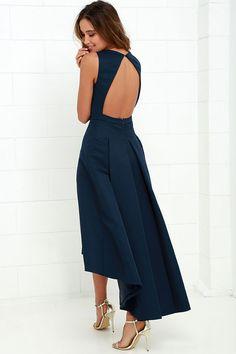 203e1cccfda6 Paso Doble Take Navy Blue High-Low Dress. Black Tie Wedding ...