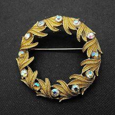 Vintage Wreath Brooch Laurel Leaves Aurora Rhinestone Circle Pin  | eBay
