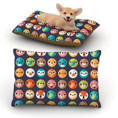 """Daisy Beatrice """"Smiley Faces Repeat"""" Animal Pattern Dog Bed"""