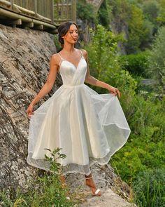 24 Gorgeous Tea Length Wedding Dresses ❤ tea length wedding dresses simple with spaghetti straps dai gelinlik #weddingforward #wedding #bride
