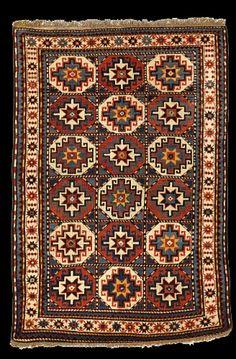 """A Moghan Kazak rug, South Caucasus.5'9""""x3'11"""" $6,000-$8,000."""