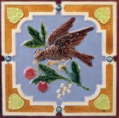 Antique Traditional Victorian Majolica Ceramic Tile