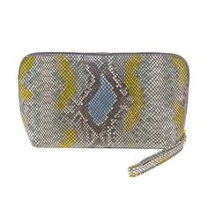 Snake yellow blue Cosmetic Bag, Yellow, Blue, Snake, Zip Around Wallet, Cosmetics, Bags, Schmuck, A Snake
