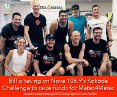 Bill McDonald, from Seven News is currently tackling Nova 106.9's Kokoda challenge in support of Mates4Mates! He has already raised over $1000 for this great cause, congratulations Bill! You can donate here - https://novaskokodachallenge2015.everydayhero.com/au/bill Mates4Mates is a not-for-profit organisation which provides holistic treatment programs for current and ex-serving Australian Defence Force (ADF) members and their families