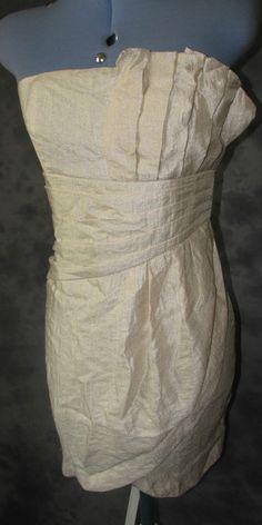 H&M,ladies,size 8,Ivory,no pattern,bandeau neck,sleeveless,Formal,Dress.