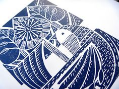 Mangle Prints: Blue Folk Prints