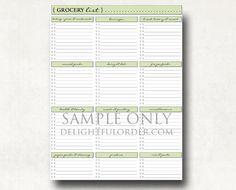 Grocery Shopping List PDF Printable File. $5.00, via Etsy.