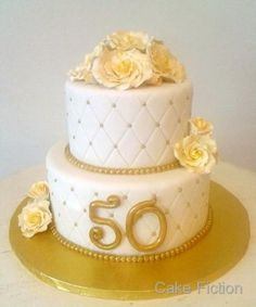Cake Fiction: Quilted Roses Golden Anniversary Cake - Chanel romb on the side Elegant Birthday Cakes, 50th Birthday Cake For Women, 2 Tier Birthday Cakes, 50 Birthday, Golden Anniversary Cake, 50th Wedding Anniversary Cakes, Wedding Cakes, 50th Cake, Mom Cake