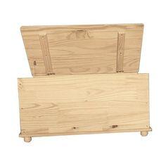 Baule cassapanca con piedini in legno naturale verniciabile portagiochi salvaspazio.