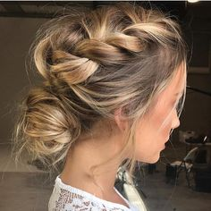 """1,375 Likes, 19 Comments - Persephone (@bridal_vogue) on Instagram: """"Loose boho braided updo 〰/ hair: @emmachenartistry"""""""