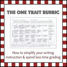 the one trait rubric system for teaching and grading writing