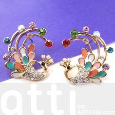 Pretty Peacock Bird Animal Stud Earrings in Gold with Rhinestones $7.50 #peacock #bird #feathers #animal #stud #earrings #rhinestones #animaljewelry #artfire