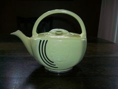 1950s Art Deco Teapot Hall Yellow with Platinum Trim From RedRiverAntiques $55.00