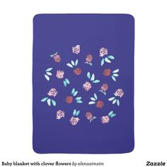 Baby blanket with clover flowers