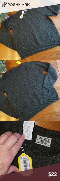 LL BEAN Shetland Donegal Crew Sweater This is a new LL Bean sample sweater, so those are the tags attached. Deep balsam green color with lighter flecks throughout. It's a stunning color, and pictures don't do it justice. Nice elbow patch details. 100% Shetland wool. LLBean Sweaters Crewneck