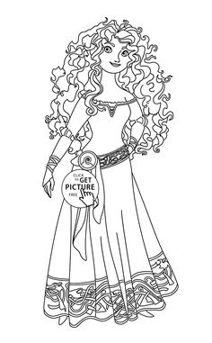 Brave Merida coloring page for kids, disney princess coloring pages printables free - Wuppsy.com