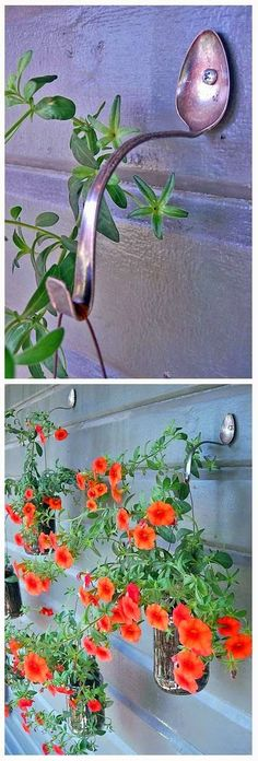 Simple DIY Planter Hangers, using spoons to hang pots.  Really cute idea.