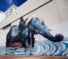 """""""Floating Elephant"""" by Fintan Magee in Wollongong, NSW (LP)"""