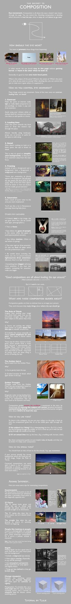 This should be applicable to both painters and photographers — and all other visual artists — with occasional tips for one or the other in p. The Secret to Composition Color Composition, Rules Of Composition, Composition Drawing, Drawing Lessons, Drawing Techniques, Art Lessons, Pc Drawing, Camera Techniques, Drawing Tips
