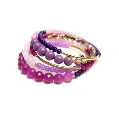 Pink & purple bracelet set by beadstreetgallery on Etsy