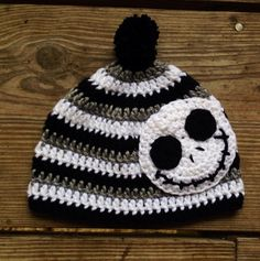 "Ooak ""Jack"" tricolor infant beanie on Etsy by LemonSprout Nightmare before Christmas Jack skeleton"