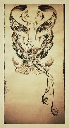 刺青 大阪 タトゥー 鳳凰 水墨画 tattoo artwork Phoenix Japanese style