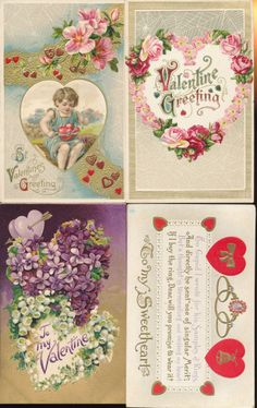 Lot of 4 Antique Valentine's Day Postcards with Hearts~Cupid~Flowers-kkk296