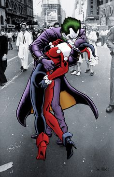 The Joker and Harley Quinn: The Kissing Joke- Art Print/Poster Harley And Joker Love, Joker Y Harley Quinn, Harley Quinn Drawing, Marvel Dc, Oc Fanfiction, Harely Quinn, Batman Comics, Gotham Batman, Batman Art