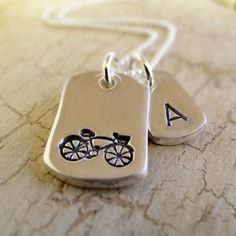 Handmade recycled fine silver stamped bike necklace with initial tag by CasSam Jewellery